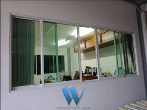 งานติดตั้งกระจกและอลูมิเนียมแบบบานเลื่อน