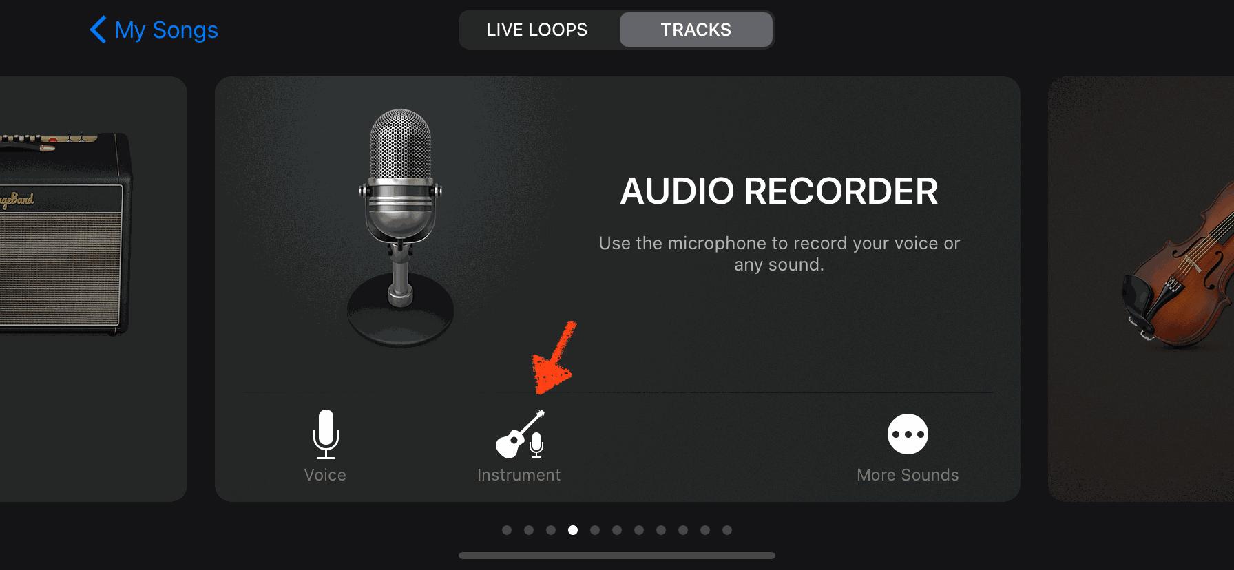 7) เลือกไปที่ AUDIO RECORDER แล้วเลือกที่ Instrument