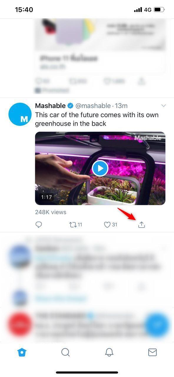 เปิดโปรแกรม Twitter เลือกไปที่ Tweet คลิปวีดีโอที่ต้องการ