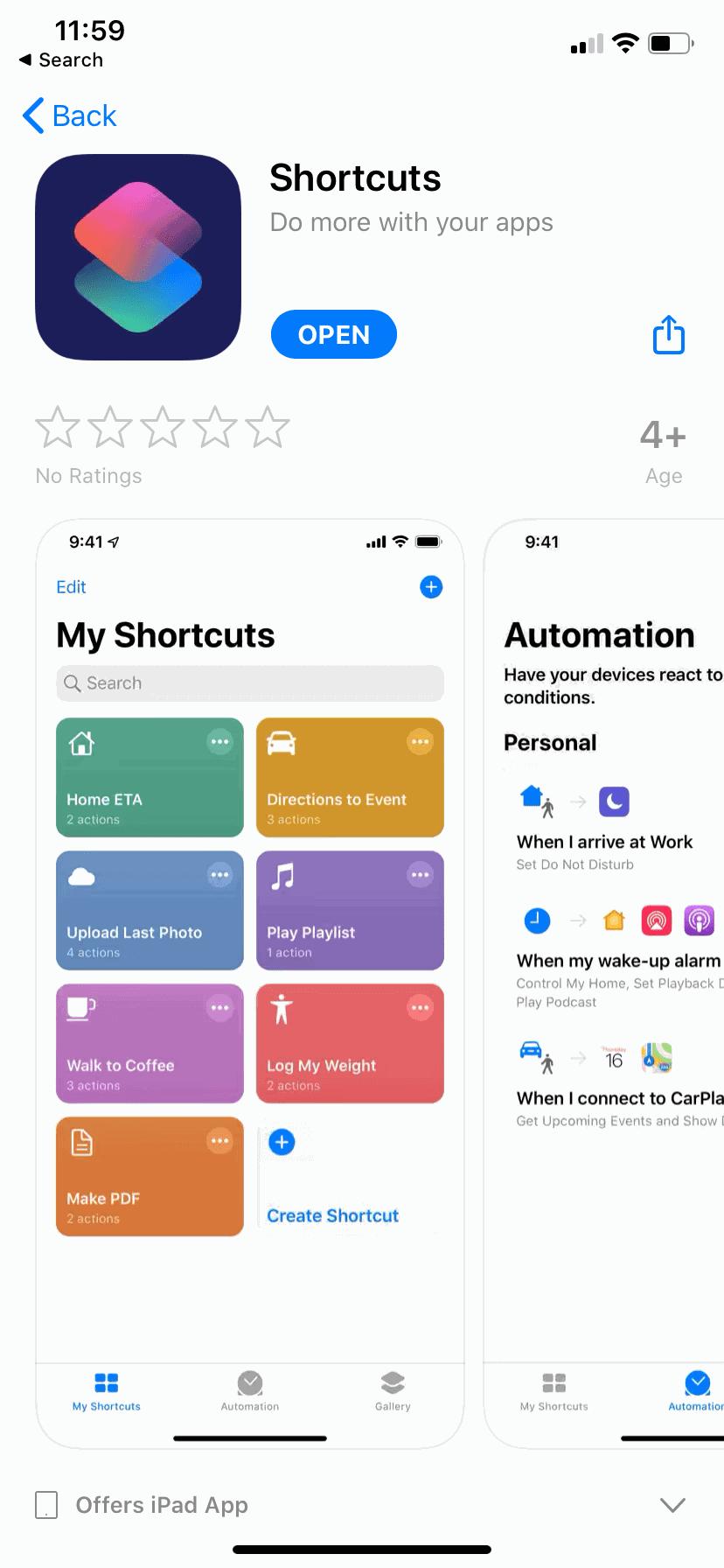 1) ติดตั้งโปรแกรม Shortcuts จาก Apple Store
