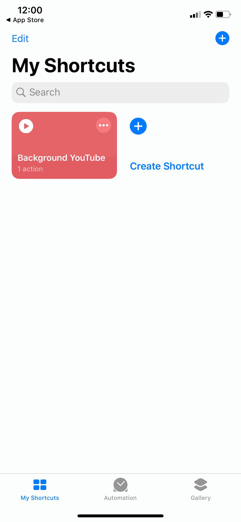 2) ดาวน์โหลด คำสั่งลัด Background Youtube / ที่นี่ แล้วเราก็จะได้คำสั่งลัดเพิ่มขึ้นมาตามรูปในโปรแกรม Shortcuts