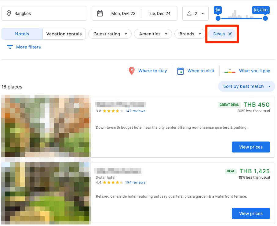 เท่านี้ Google ก็จะแสดงผลเฉพาะโรงแรมที่มีดีลสีเขียวครับ
