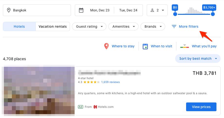 เลือกตำแหน่งของโรงแรมบนแผนที่ตามต้องการ กด More Filters