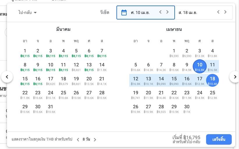 เปลี่ยนวันเวลาการเดินทางเพื่อหาตั๋วเครื่องบินราคาถูกในช่วงนั้น