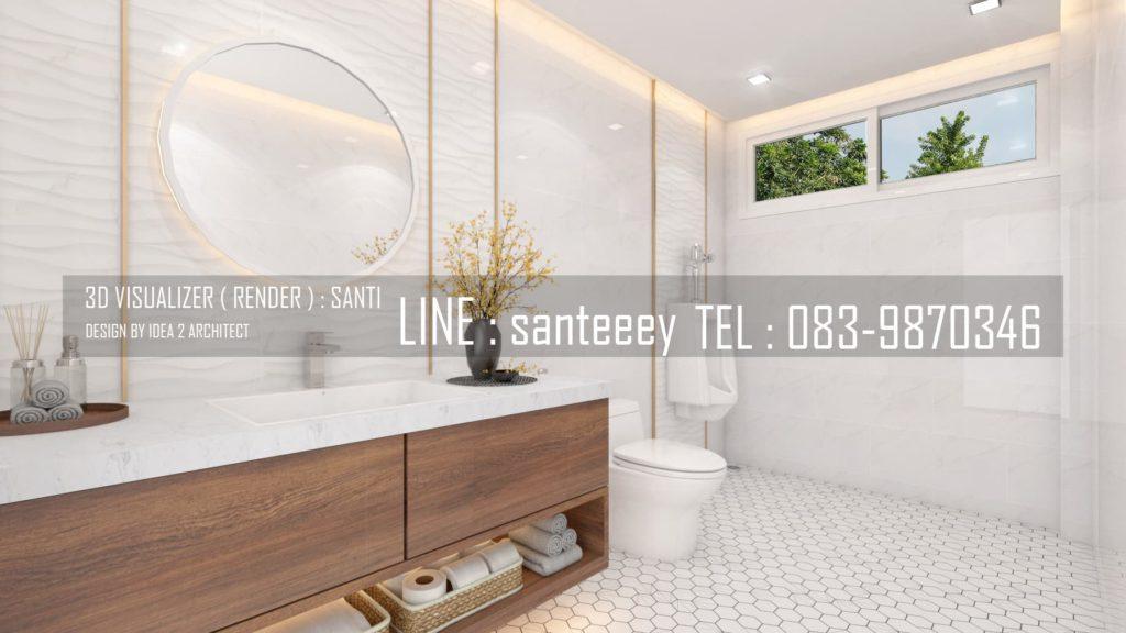 ภาพ 3D Perspective งานออกแบบภายในห้องน้ำ