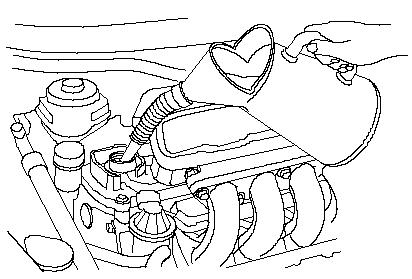 4) เติมน้ำมันเครื่องตามที่คู่มือติดรถยนต์กำหนด