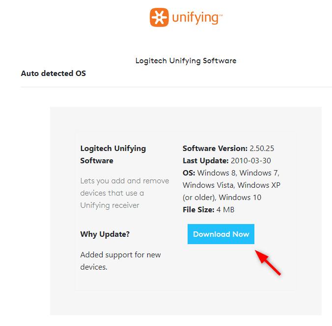 ดาวน์โหลดโปรแกรม Logitech Unifying Software