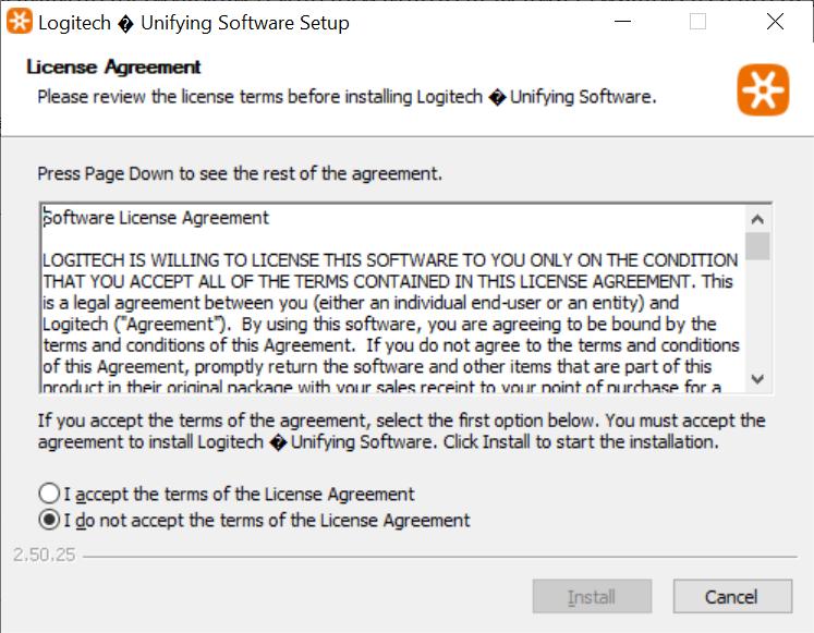 ติดตั้งโปแรกรม Logitech Unifying Software